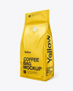 Coffee Bag W/ Valve Mock-Up - Half Side View. Preview