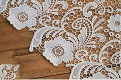Wedding Crocheted Gown Lace Fabric White QMilch Bridal by QFabrics, $39.00