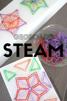 Use materials from around the house to create a shape geoboard. This simple shape geoboard activity is great for STEAM. Encourage learn through play.