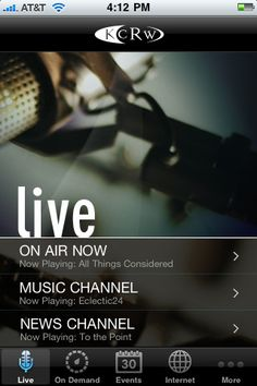 Listen Live - The KCRW Radio app streams all three KCRW channels – On Air, Music and News. Music shows include real-time track lists for each show with the ability to purchase from iTunes.
