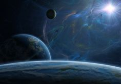 Space, planets, moon, star, the energy of the ring, the atmosphere