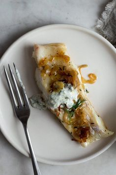 Quick-Braised Cod With Herbed Yogurt from Melissa Clark. via NYT Cooking Yogurt Recipes, Fish Recipes, Seafood Recipes, Great Recipes, Cooking Recipes, Favorite Recipes, Healthy Recipes, Meatless Recipes, Cooking Videos