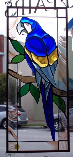Beveled Glass Blue Macaw Parrot