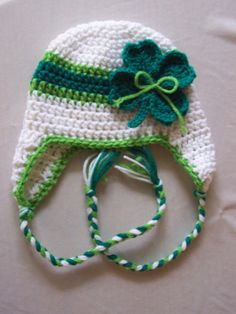Crochet (St. Patrick's Day) Lucky 4 Leaf Clover Earflap Beanie Hat - Etsy $37.00