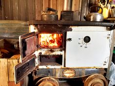 Mine cart with wooden stove. Your teapot will never be cold. Mine Cart, Daylesford, Stoves, Wood Burning, Teapot, Cold, Winter, Home Decor, Winter Time