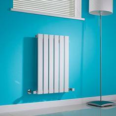 Milano Alpha - White Horizontal Single Slim Panel Designer Radiator 635mm x 420mm Utility