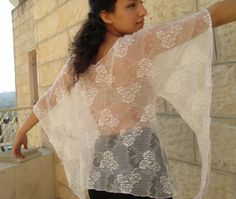 White lace fantasy style elven shirt Soft Airy lace by Youshky, $45.00