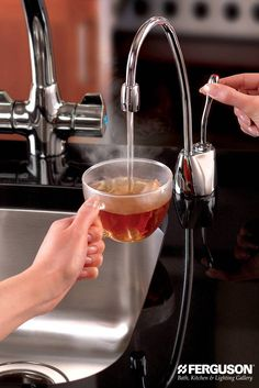 Think for a moment just how often you use hot water. Now think about how instant 200°F water, right at the kitchen sink, can help you relax, save time and get things done. That's because an @InSinkErator instant hot water dispenser makes coffee, tea, hot cider, hot chocolate or any hot drink - instantly.