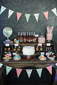 Handmade family sweets combine with travel inspiration and bunting for a lolly buffet to remember!