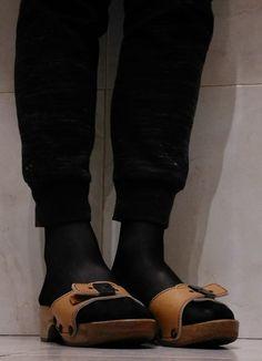 Wooden Sandals, Cork Sandals, Dr Scholls Sandals, Birkenstock Boston Clog, In Pantyhose, Sexy Feet, Clogs, Socks, Birkenstocks