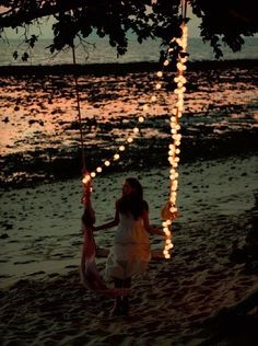 #Fairylight swing on the beach