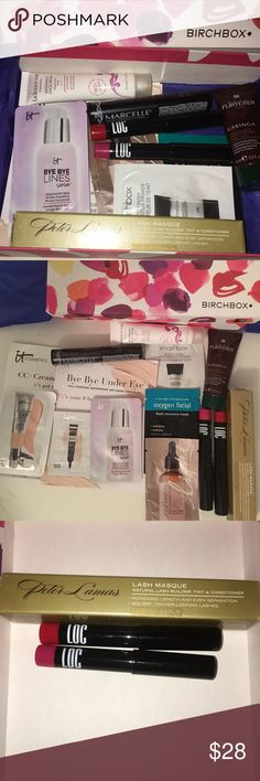 Birchbox high end assortment of makeup & skincare An assortment of items from Birchbox monthly subscription. Total of 12 products, 3 of which are full size, 3 delux sizes & 6 samples. The Lash Masque is $22!  LOC lip color retails for $12 EACH. So, this brand new, reusable, box is a great value. 🚫 only selling together, no trades. Final price Sephora Makeup