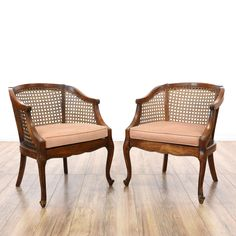Nice This Pair Of Barrel Back Chairs Are Featured In A Solid Wood With A Glossy  Dark Cherry Finish. These Accent Chairs Have Woven Cane Backs, Curved  Accents And ...
