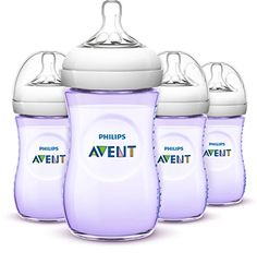 #manythings.online #Philips #AVENT SCF693/43 N/Atural 9 Ounce Purple Bottle is the most N/Atural way to bottle feed. The wide, breast-shaped nipple  promotes N/At...