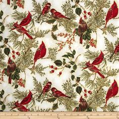 Snowy Peak Metallic Cardinals Taupe/Gold from @fabricdotcom  From Hoffman California International Fabrics, this cotton print is perfect for quilting, apparel and home décor accents. Colors include shades of red, green and brown on a ivory background with metallic gold accents.