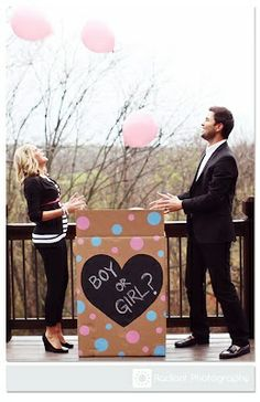 Baby Gender Reveal. Fill the box with pink or blue helium balloons and watch them fly as you reveal the gender. So cute.