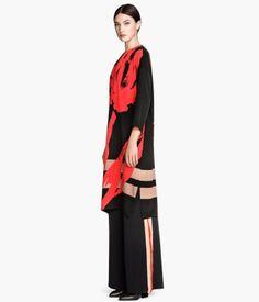 H&M Multicolor Floral Print Silk loose Fit  Dress $130 LOVE GORGEOUS (wear with wide leg stripe pants)