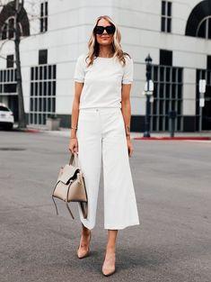 #GuitaModa. Look total white, blusa branca, calça pantacourt branca, carpin nude