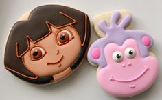Dora and Boots sugar cookies Rose Cookies, Iced Cookies, Sugar Cookies, Cookies Et Biscuits, Dora Cake, Edible Creations, Cookie Tutorials, Baking Party, Cookies For Kids