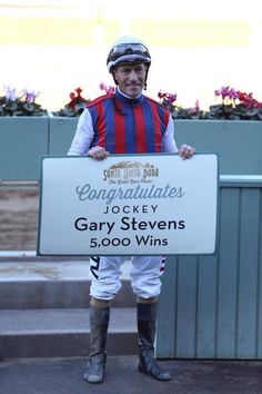 February 13, 2015 - Hall of Famer Gary Stevens won his 5000th North American race aboard Catch a Flight in Santa Anita's $58,000 allowance feature. Gary Lynn Stevens (born 1963) is an American Thoroughbred horse racing jockey. He became a professional jockey in 1979 & rode his first of three Kentucky Derby winners in 1988. As of 2014, he has also won the Preakness Stakes & Belmont Stakes three times each, as well as 10 Breeders' Cup races & is a nine-time winner of the Santa Anita Derby