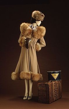 Jean Patou (France, Normandy, 1880 - 1936)   Woman's Coat, circa 1930  Costume/clothing outerwear, Wool, wool crepe, fox fur