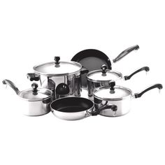"""http://yummycakedecorating.com/farberware-classic-stainless-steel-10-piece-cookware-set/ If you have a large family or lots of dinner parties this is for you! The """"full cap"""" base has an aluminum core for even heating and the stainless steel body offers lasting beauty. The handles are a traditional style that works in the most modern kitchens."""