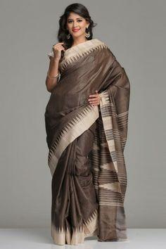Brownish Green Striped Tussar Silk Saree With Beige Border And Striped Purple Pallu With Temple Motifs