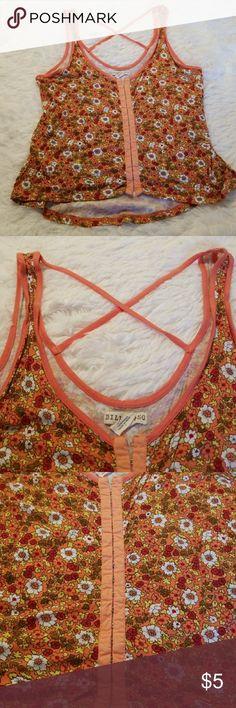 🌺🌺3 For $15🌺Billabong Orange Floral Crop top Size LG Orange Floral Crop Top from Billabong Billabong Tops Crop Tops