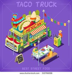 Food Inspiration  Mexican Taco Food Truck. Delivery Master. Street Food Chef Web Template. NEW bright palette 3D Flat Vector Icon Set Isometric Food Truck Full of Taste High Quality Dishes Alternative Street Cuisine