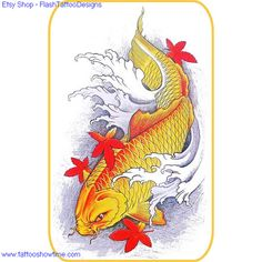 Koi Tattoo Flash Design 3 for you on Etsy. Top quality high resolution color design, with tattoo stencil outline. Instant download only $1.95. Get the body art you deserve. Many other designs.