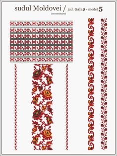 Semne Cusute: ie MOLDOVA, Galati Bead Loom Patterns, Beading Patterns, Cross Stitch Patterns, Embroidery Motifs, Cross Stitch Embroidery, Palestinian Embroidery, Embroidery On Clothes, Moldova, Knitting Charts