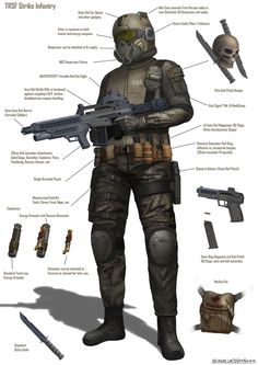 This diagram features some of the standard combat gear used by the frontline infantry of the TRSF faction. Weapon prop design is subject to change as mo. Science Fiction, Concrete Cover, Combat Gear, Combat Armor, Future Weapons, Sci Fi Armor, Future Soldier, Armor Concept, Sci Fi Characters