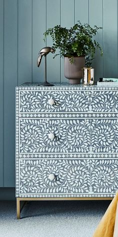 Handcrafted & unique, our bone inlay collection is made using time-honoured techniques. Dazzle guests with these bold pieces. Upscale Furniture, Funky Furniture, Upcycled Furniture, Furniture Makeover, Furniture Design, Lounge Design, Reno, Dream Decor, Fashion Room