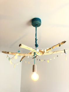 Beach House Coastal Decor Lighting Fixture Made Of Driftwood And Sea Gl