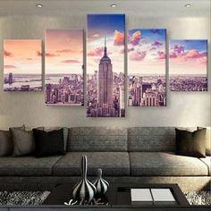 New York Canvas Art, New York Wall Art, New York Sunset Large Canvas Art, New York Wall Decor, New York Painting, New York Canvas Print