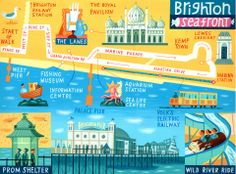 Brighton map 'Walk of the Month' - The Daily Telegraph - Acrylic on paper - John Montgomery