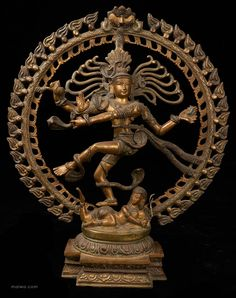 Nataraja Shiva - the Lord of the Dance, also known as the Dancing Shiva. This figure is often found in Indian households and is based on a sculpture which was perfected by artists of the Chola period (880-1279 CE). This statue is often synonymous with Hinduism and has come to represent India in the minds of many.  Nataraja is also interpreted as the dance of creation and destruction or the cosmic dance. There is a two-metre high Nataraja sculpture at CERN.
