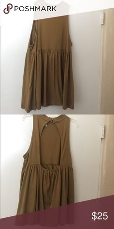 Free People Tank Army green free people loose high neck tank! So cute paired with jean shorts or dress it up with white jeans! Free People Tops Tank Tops