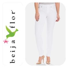 """Beija Flor """"Kelly"""" skinny in white! This year-round best selling White skinny is amazing! Chic yet ultra comfortable, Kelly pairs zipperless, button-free design with a slightly higher rise to trim your tummy and minimize your mid-section. No protruding hardware means you'll get that smooth shirt effect every time you slip these on. No-Gap waist. Curve friendly and bounce back memory stretch! 73% cotton, 25% polyester, 2% elastane. 32"""" inseam (easily hemmed!) and 9"""" rise. Beija Flor Jeans"""