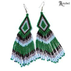Long Tribal / Boho Seed Bead Earrings in green and by Anabel27shop,