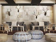Altpura Hotel - Val Thorens, Alpine Glam, Wood Wall, Modern Lodge-Style Wood Walls, Deer Heads, Amazing Ottoman, Neutral Palette, Fun, Cozy