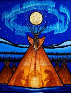 Native-American-Paintings-and-Art-illustrations Teepees, Native American Artists, Native American Paintings, Native American Drawing, Native American Indians, Native Canadian, Canadian Art, Shamanism, Historia Del Color