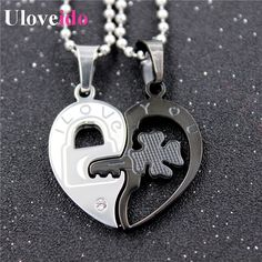 Find More Chain Necklaces Information about Uloveido Stainless Steel Big Necklace Love Heart Couple Pair Pendant Lock and Key Chain for Woman  Collares Mujer Jewelry TN393,High Quality chain lowes,China chain less Suppliers, Cheap chain link fence gate from Ulovestore Jewelry on Aliexpress.com
