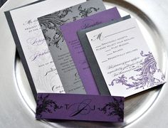 Purple, Black, Pewter Silver, and Off-White/Light Ivory Invitations