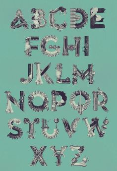 Alphabet [Re:Production] by Birgit Palma, via Behance http://www.typographyserved.com/gallery/Alphabet-ReProduction/4197983#
