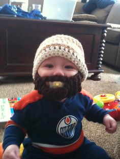From Karen Wylie Gendron Edmonton Oilers, Calgary, Hockey, Funny Stuff, Beanie, Country, Sewing, Children, Cute