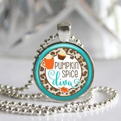 """Who is ready for some Pumpkin Spice?!  This is a beautiful handmade glass tile bezel pendant necklace made by me in my studio.  The glass tile is 1"""" and is set in a beautiful silver plated bezel setti"""