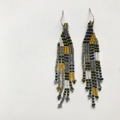 inch at widest point 3 inch drop from 14 karat gold fill ear wire Seed Bead Earrings, Fringe Earrings, Beaded Earrings, Seed Beads, Drop Earrings, Native American Fashion, Brick Stitch, 14 Karat Gold, Bead Weaving