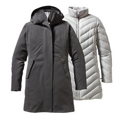 Patagonia Women's Tres Parka - The Tres Parka is an H2No® Performance Standard 3-in-1 waterproof/windproof down coat for the coldest climes; its Traceable Down (third-party-verified, non-live-plucked, non-force-fed) 600-fill-power duck down parka zips into a polyester stretch twill shell with a waterproof/breathable barrier and a DWR (durable water repellent) finish.