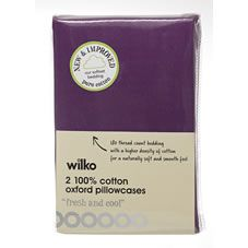 Wilko Oxford Pillowcases Purple x 2